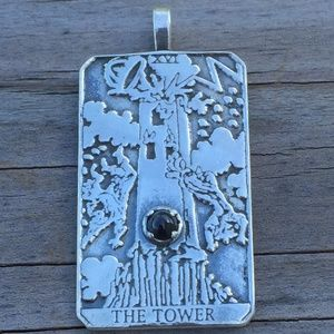 Tower Tarot Pendant Sterling Silver Star Diopside